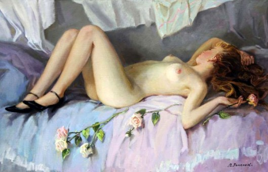 Sleeping Girl With Roses
